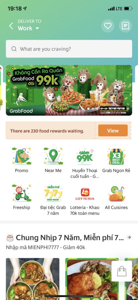 Grab foodスクリーンショット